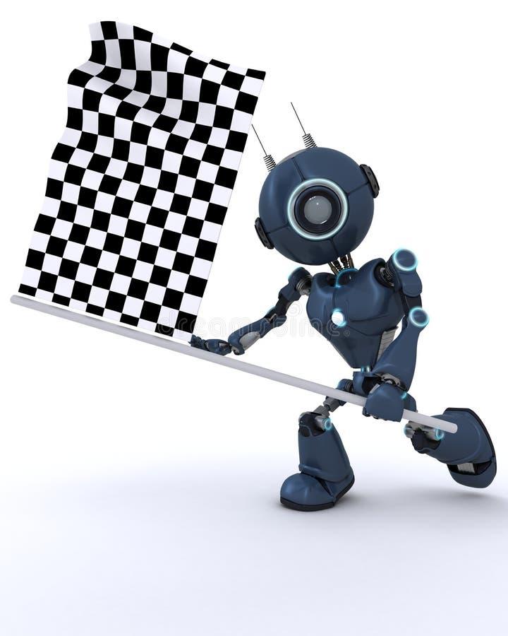 机器人挥动的方格的旗子 皇族释放例证