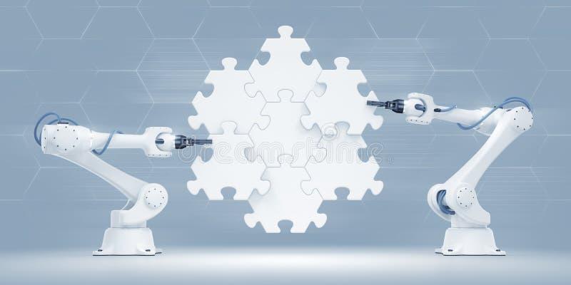 机器人操作器行动展示  向量例证