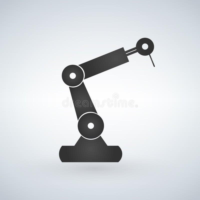 机器人操作器黑色剪影标志象 机器人肢体商标 在空白背景查出的向量例证 皇族释放例证