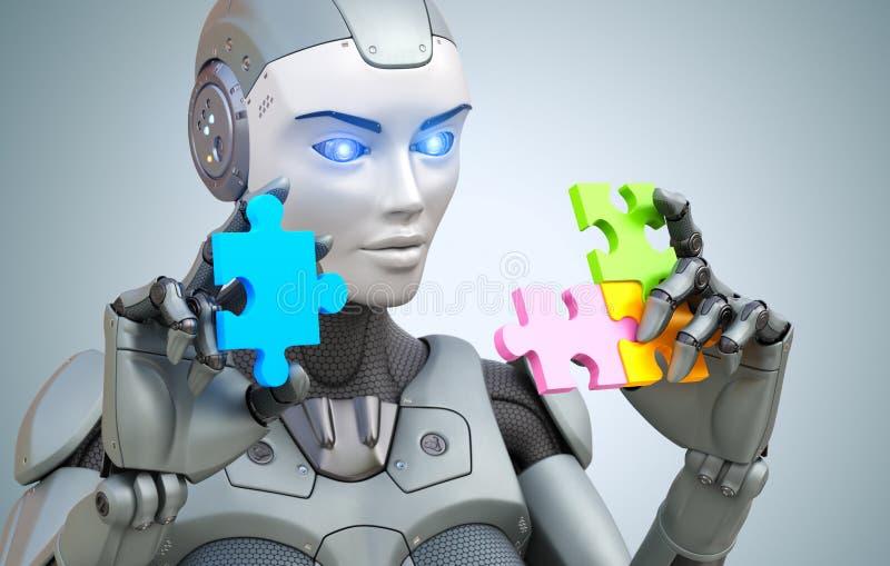 机器人收集谜 向量例证