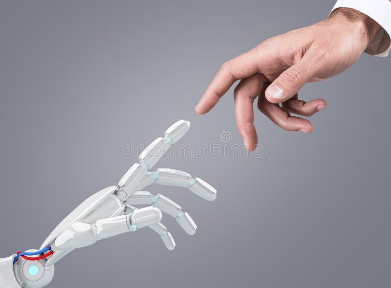 机器人数字式现有量人力例证涉及 免版税图库摄影