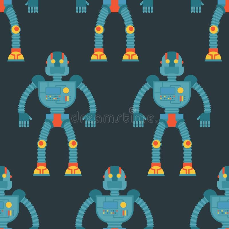 机器人无缝的样式 技术机器机智背景  皇族释放例证