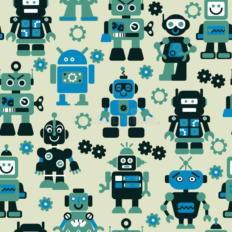 机器人无缝的样式 皇族释放例证
