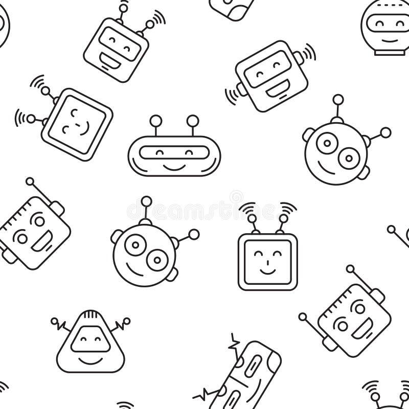 机器人无缝的样式 向量例证