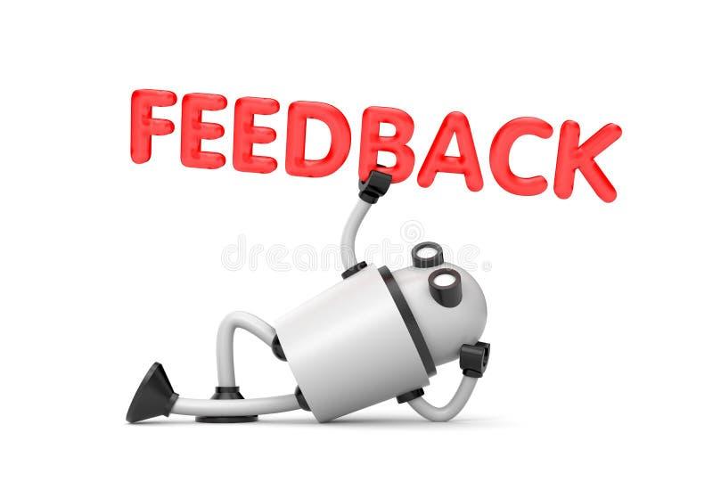 机器人是在一个轻松的位置举行词-反馈 库存例证
