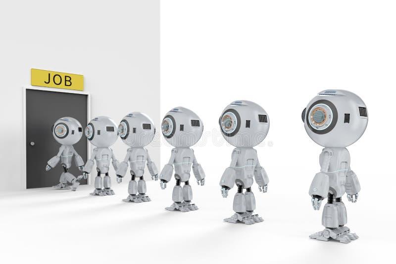 机器人替换人的工作 库存例证