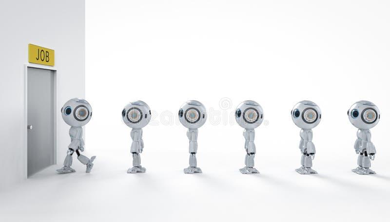 机器人替换人的工作 向量例证