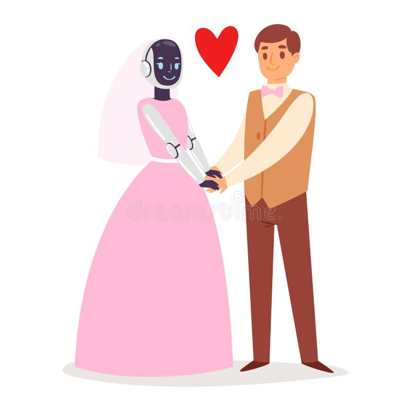 机器人有人的特点的婚礼婚姻新娘和新郎人民导航未来派机器人卡通人物计算机控制学的网络 皇族释放例证