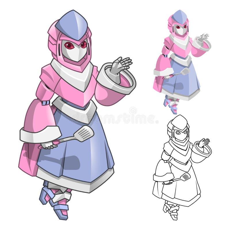 机器人有欢迎手漫画人物的厨师妇女 库存例证