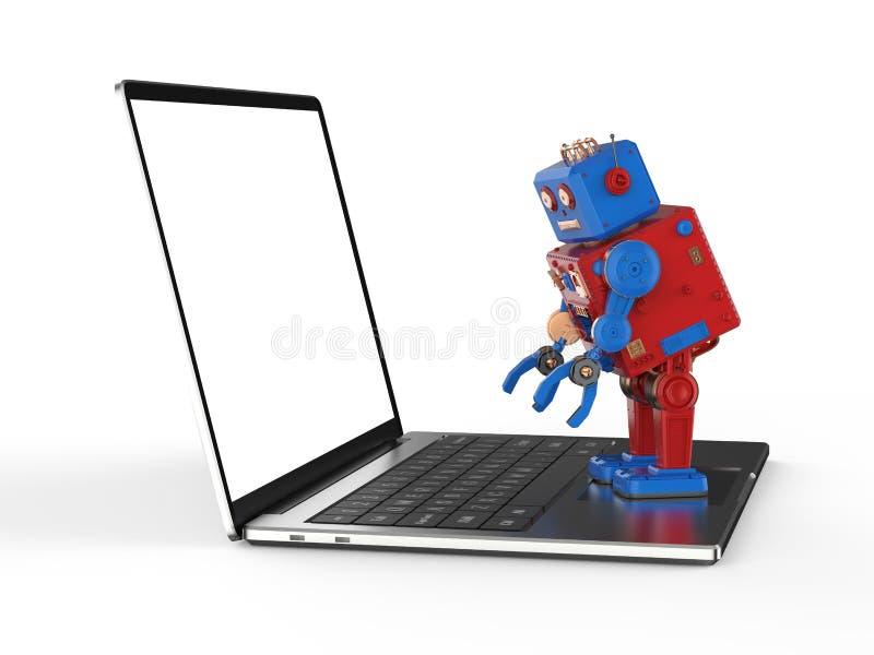 机器人有笔记本的罐子玩具 向量例证
