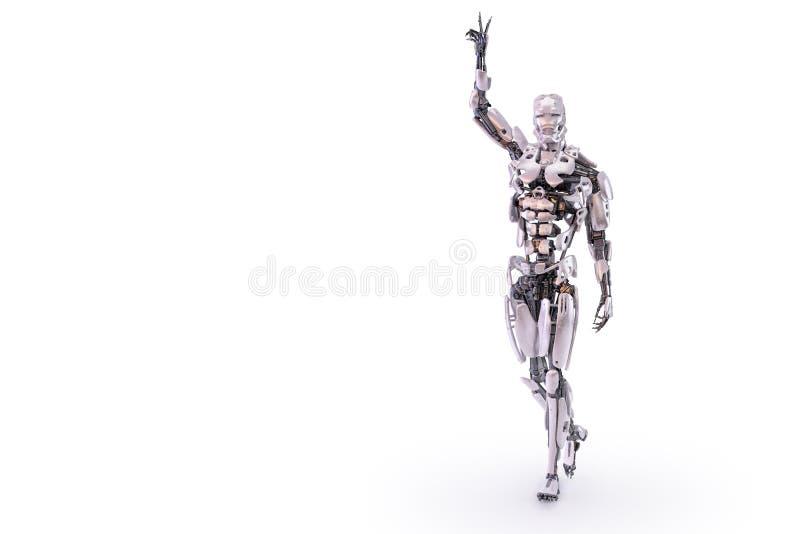 机器人有胜利标志的展示手 3d例证 向量例证