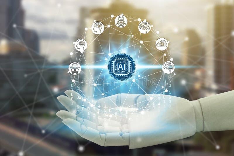 机器人有虚屏人工智能技术象的手藏品在网络连接,人为 库存例证