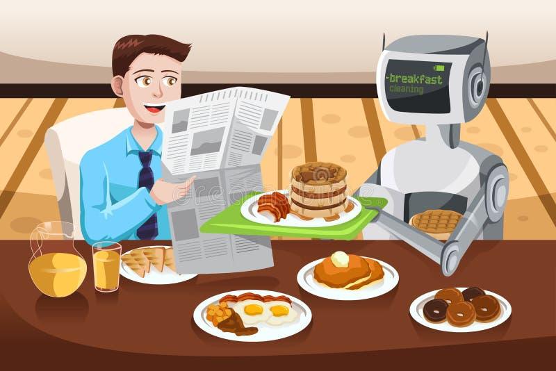 机器人服务早餐 皇族释放例证