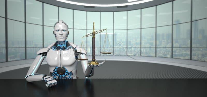 机器人未来派室杠杆式天平 皇族释放例证
