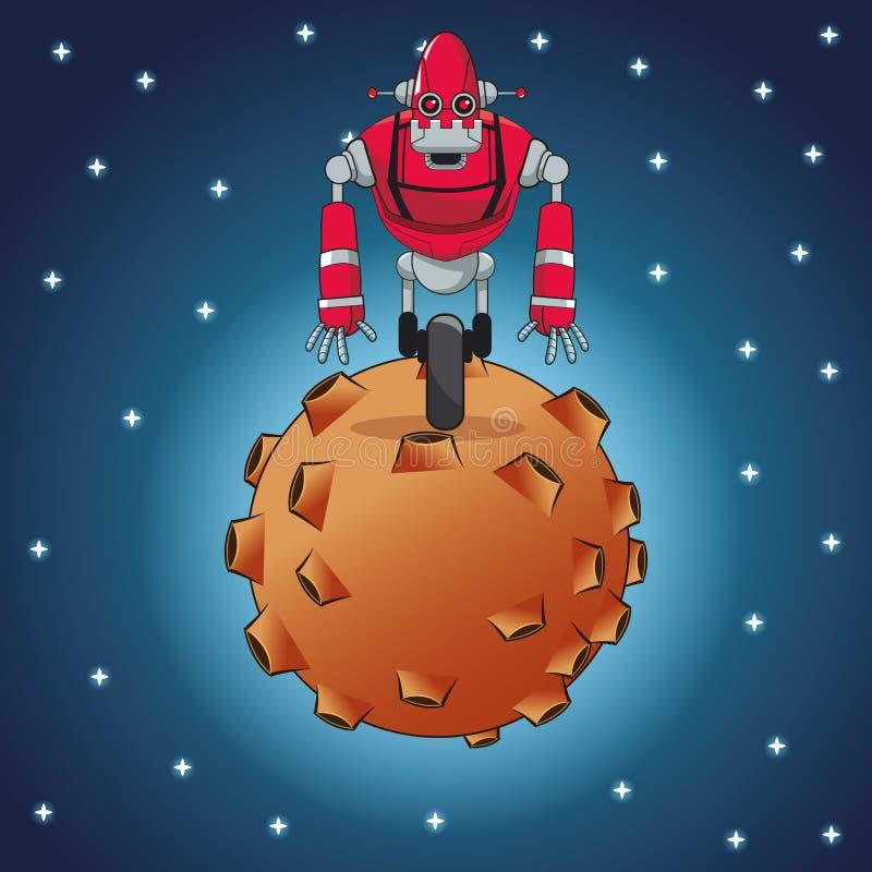 机器人未来派钢月亮空间 皇族释放例证