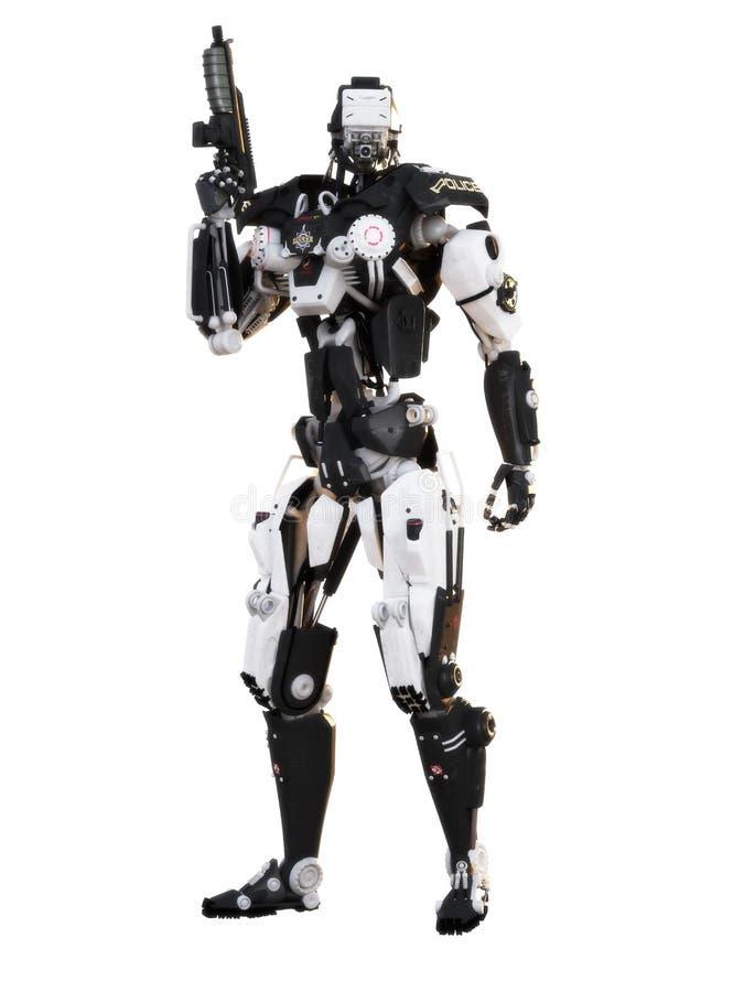机器人未来派警察装甲的机械武器 免版税库存照片