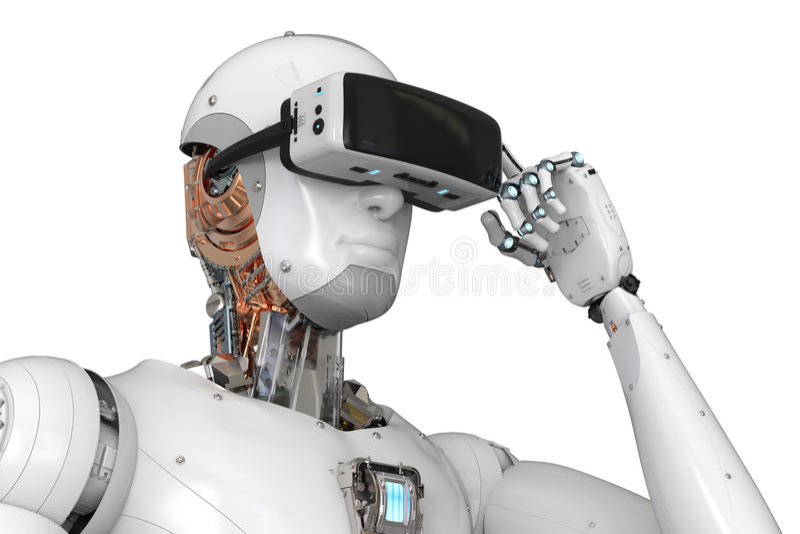 机器人机器人佩带的vr耳机 向量例证