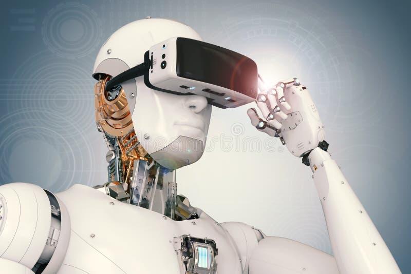 机器人机器人佩带的vr耳机 免版税库存照片
