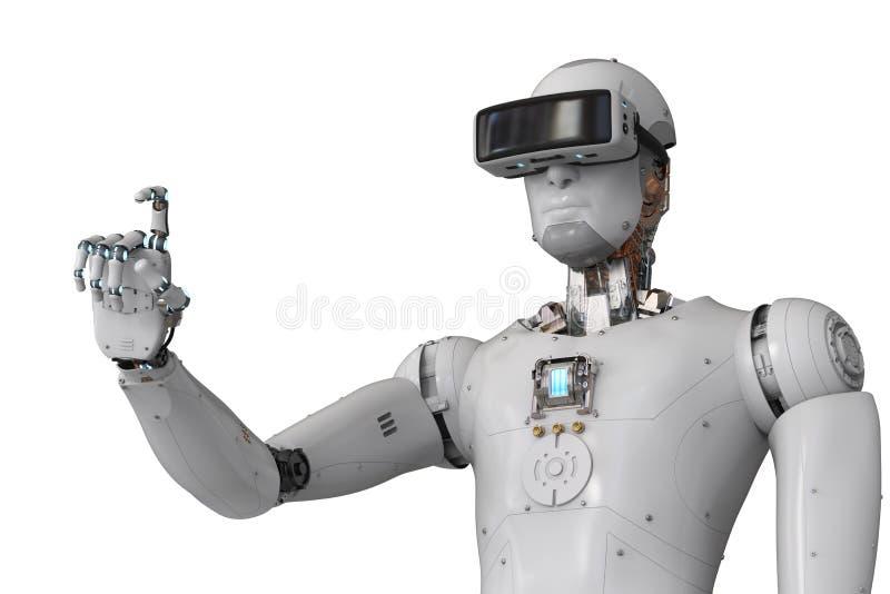 机器人机器人佩带的vr耳机 库存例证