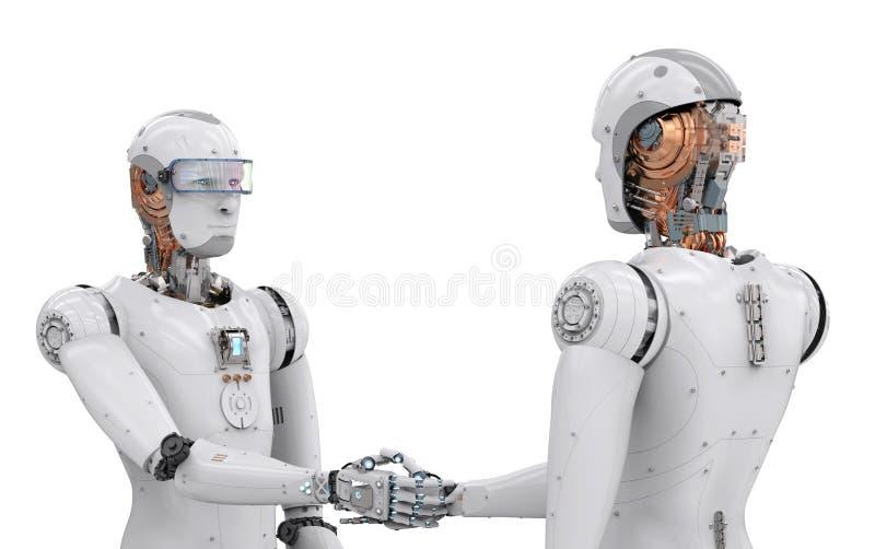 机器人机器人手震动 皇族释放例证