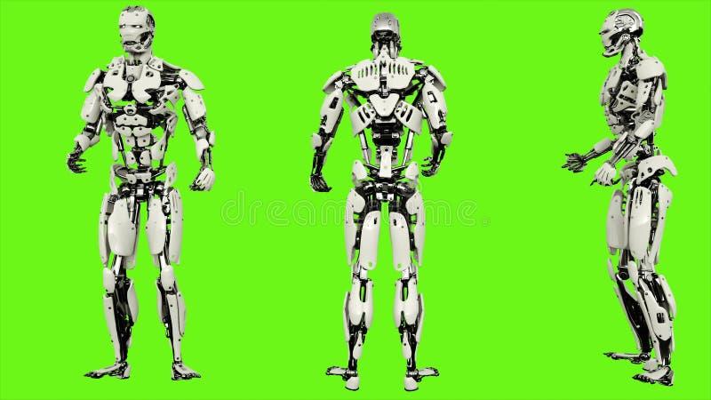机器人机器人是被喝的懒惰 在绿色屏幕背景的现实使成环的行动 3d翻译 向量例证