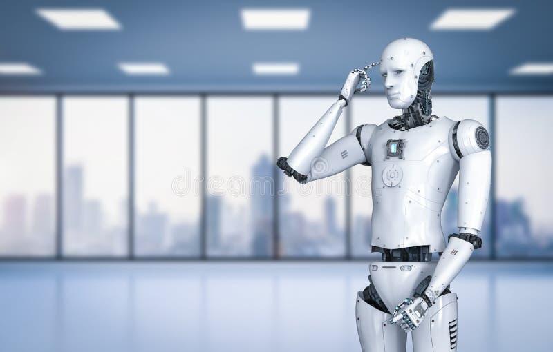 机器人机器人认为 皇族释放例证