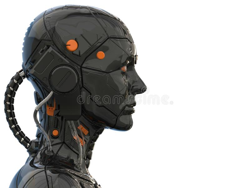 机器人机器人靠机械装置维持生命的人妇女类人动物-侧视图和隔绝在空的背景中 皇族释放例证