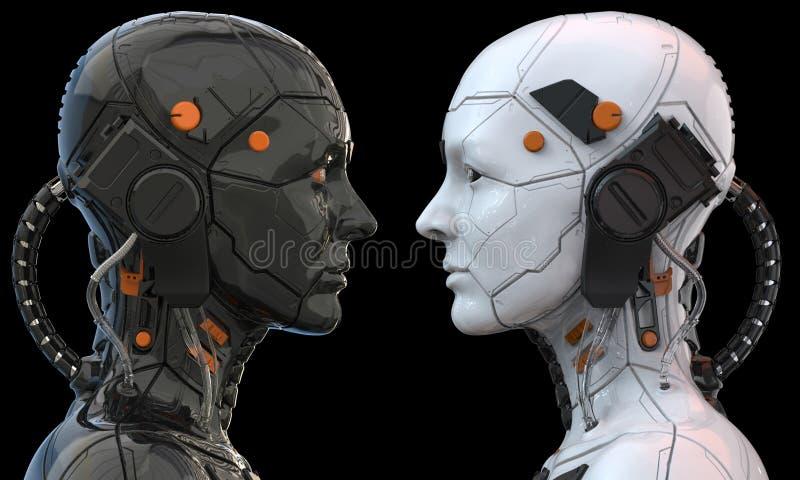 机器人机器人靠机械装置维持生命的人妇女类人动物- 3d翻译 向量例证