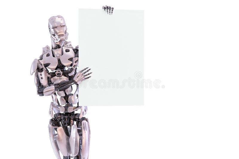 机器人机器人靠机械装置维持生命的人男性身分和拿着白纸大模型板料 给概念做广告 设计要素例证图象向量 3d例证 皇族释放例证