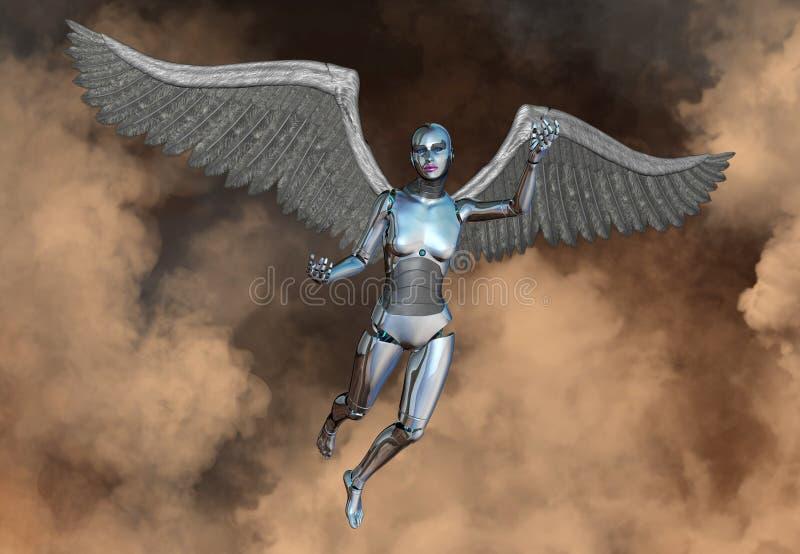 机器人机器人靠机械装置维持生命的人妇女天使 向量例证