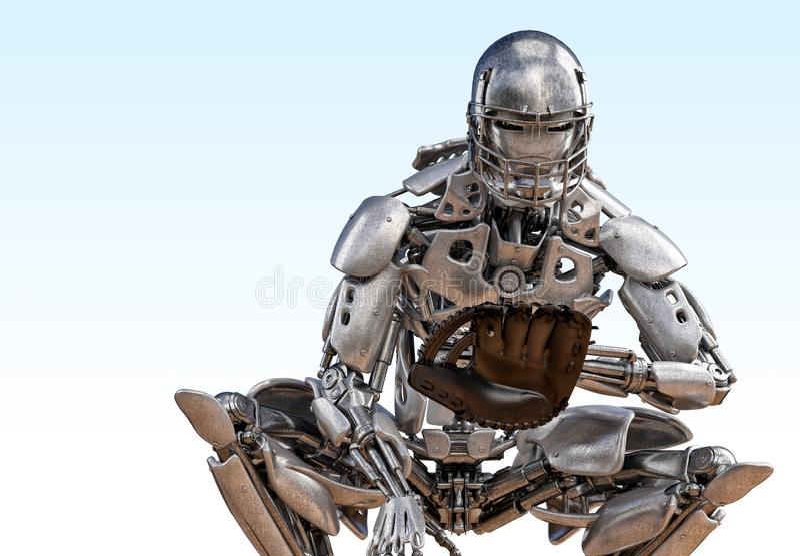 机器人棒球选手俘获器 靠机械装置维持生命的人机器人人工智能技术概念 3d例证 库存例证