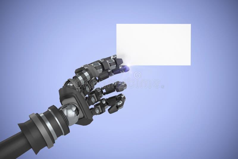 机器人武器储备白色招贴3d的计算机生成的图象的综合图象 免版税库存照片