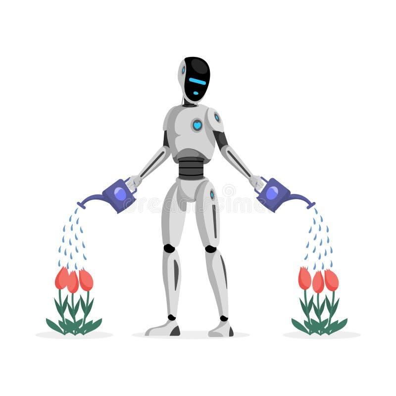 机器人浇灌的花平的传染媒介例证 机械花匠,未来派庭院辅助字符 ?? 向量例证