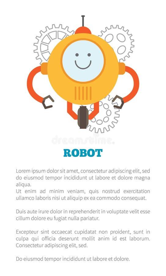 机器人海报和文本样品传染媒介例证 库存例证