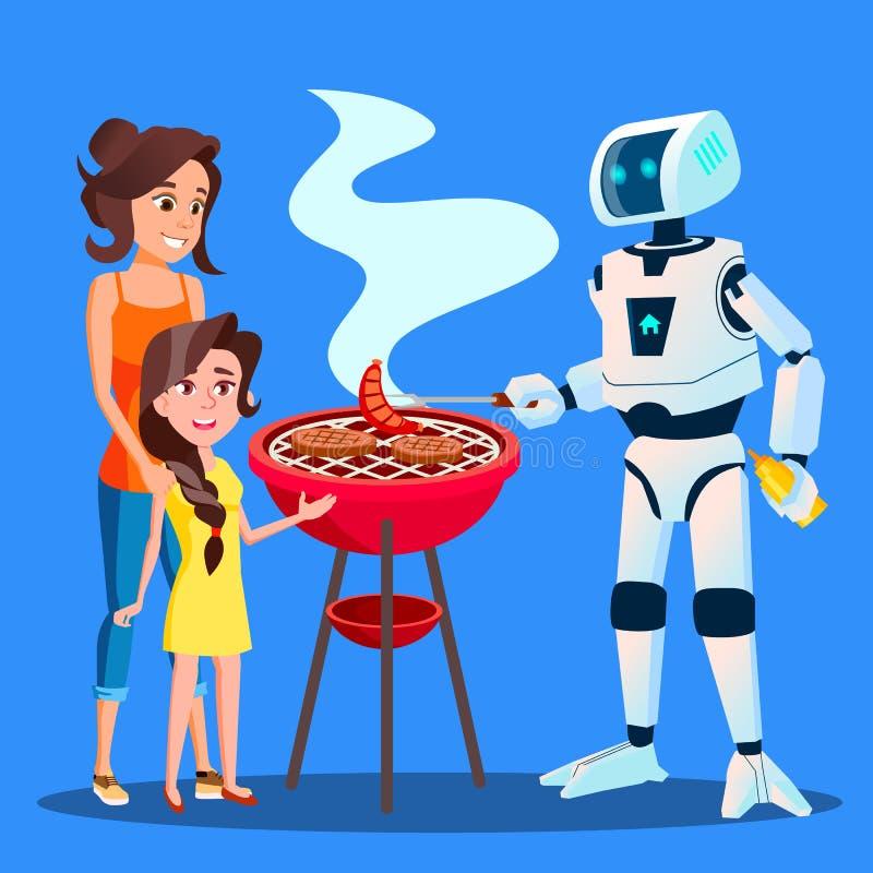 机器人烤肉为家庭传染媒介做准备 按钮查出的现有量例证推进s启动妇女 向量例证