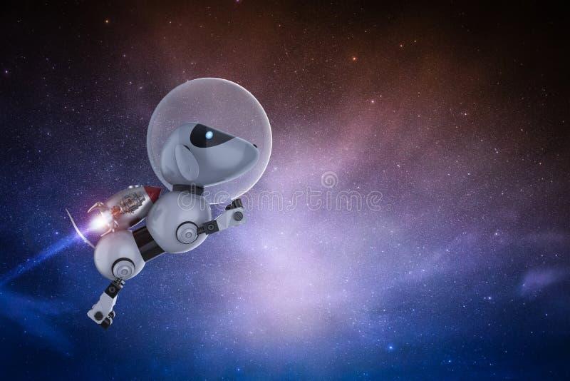 机器人狗宇航员飞行 免版税库存图片