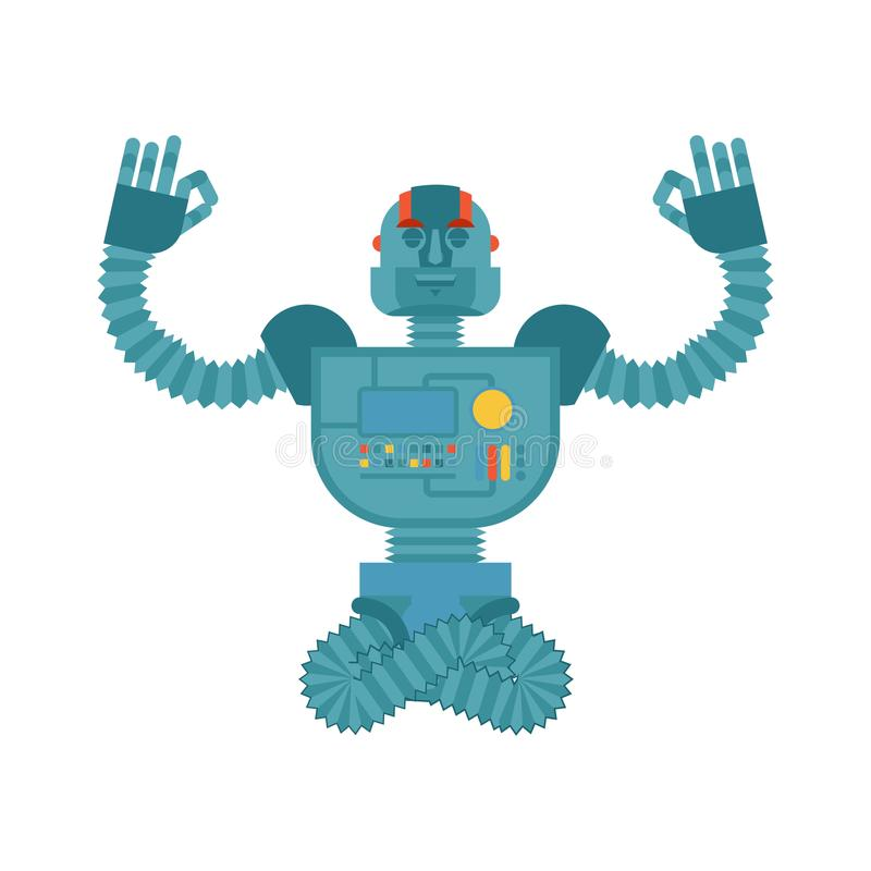 机器人瑜伽 靠机械装置维持生命的人信奉瑜伽者 机器人人放松和med 向量例证