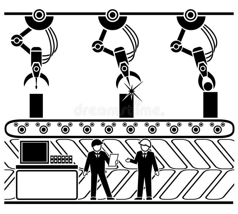 机器人生产传动机线 皇族释放例证