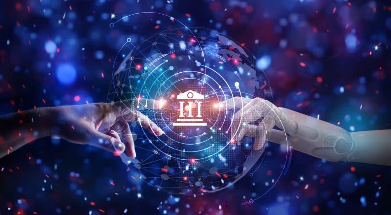 ?? 机器人的手和人接触在全球性虚拟网络连接未来接口 o 库存照片