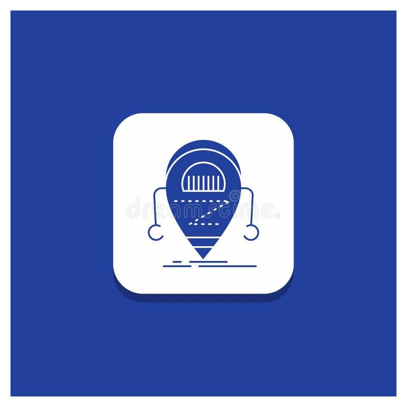 机器人的蓝色圆的按钮,beta,droid,机器人,技术纵的沟纹象 向量例证