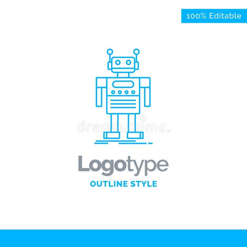机器人的,机器人,人为,马胃蝇蛆,技术蓝色商标设计 库存例证