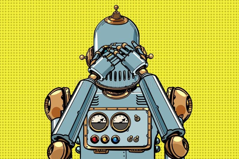 机器人盖了他的眼睛 皇族释放例证