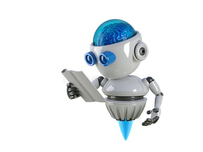 机器人看书有白色背景 库存例证