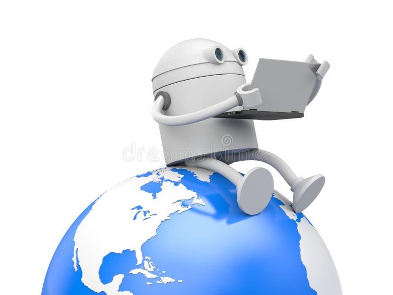 机器人研究膝上型计算机 皇族释放例证
