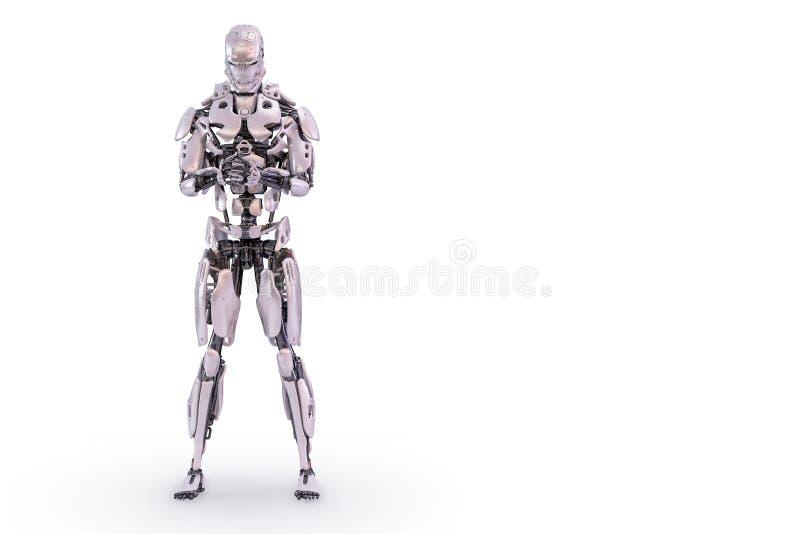 机器人祈祷 3d例证 向量例证