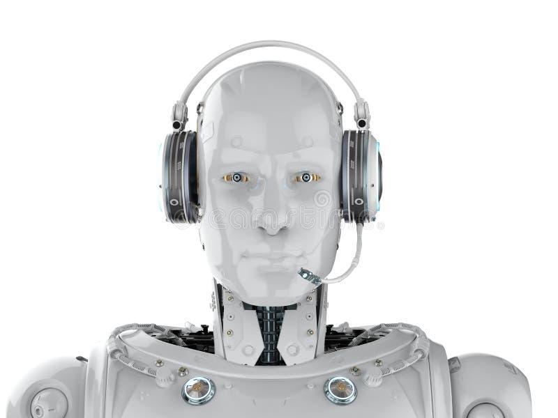 机器人穿戴耳机 皇族释放例证