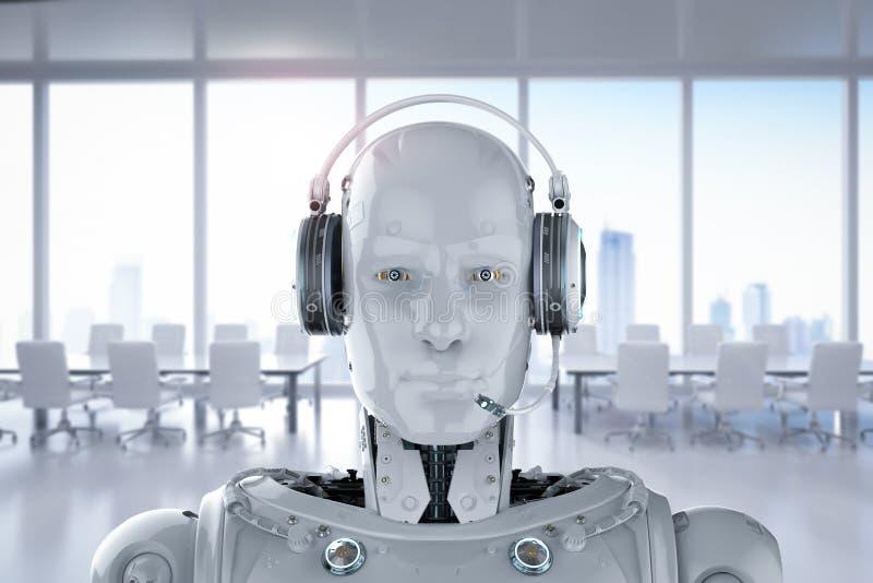机器人穿戴耳机 库存例证