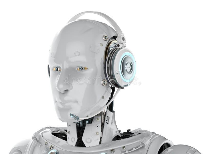 机器人穿戴耳机 向量例证