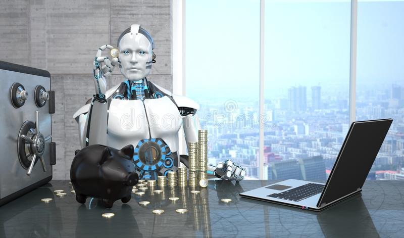 机器人笔记本安全存钱罐欧元硬币 皇族释放例证