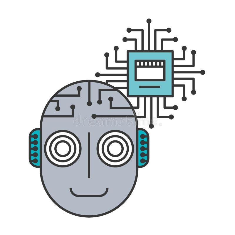 机器人类人动物头与微集成电路被隔绝的象的 库存例证